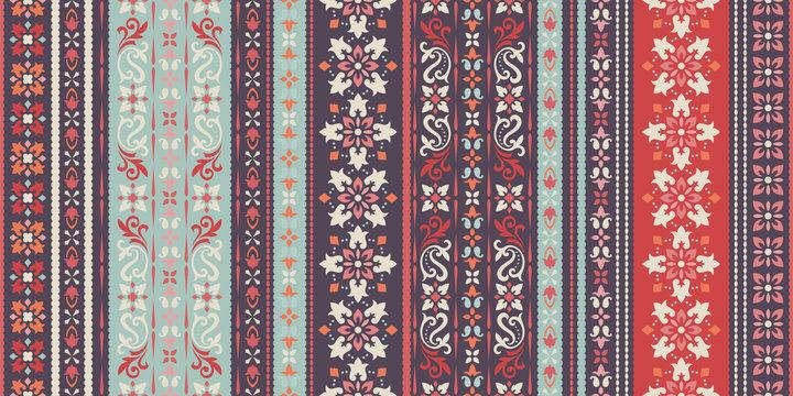 Rectangular seamless Bandana Print vector design for rug, carpet, tapis, shawl, towel, textile, yoga mat. Neck scarf or kerchief pattern design. Traditional ornamental ethnic pattern with paisley.