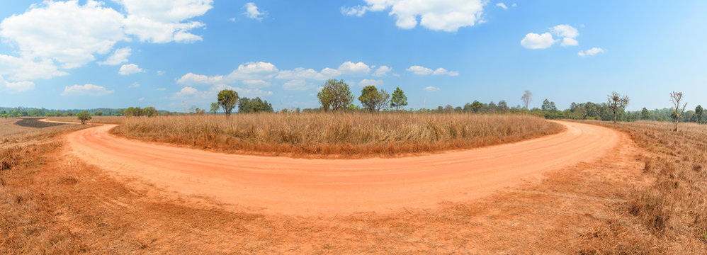 Panoramic of dirt road with the meadow in countryside