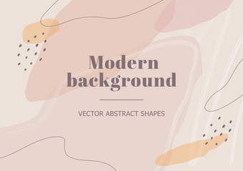 Stylish background with organic abstract shapes in nude colors. Neutral template in memphis style. Contemporary collage for beauty branding design, presentation, flyer or banner. Vector Illustration