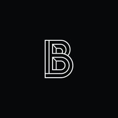 Minimal elegant monogram art logo. Outstanding professional trendy awesome artistic B BB BD DB initial based Alphabet icon logo. Premium Business logo White color on black background