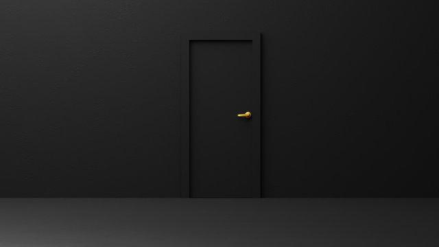 Black door,abstract empty interior background.3D render.