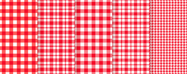 Custom vertical slats with your photo Tablecloth seamless pattern. Picnic plaid background. Vector. Red gingham cloth. Checkered kitchen texture with square check pixel. Restaurant napkin print. Retro country wallpaper. Color illustration