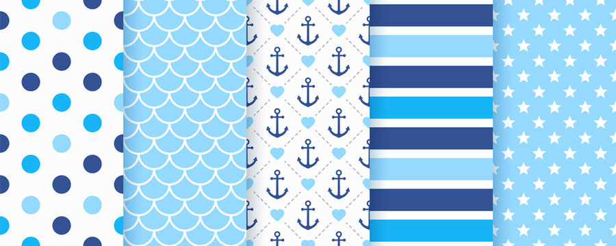 Marine seamless pattern. Vector. Nautical Sea backgrounds with anchor, polka dot, stripe, fish scale and star. Set blue summer prints. Geometric texture for baby shower, scrapbook. Color illustration