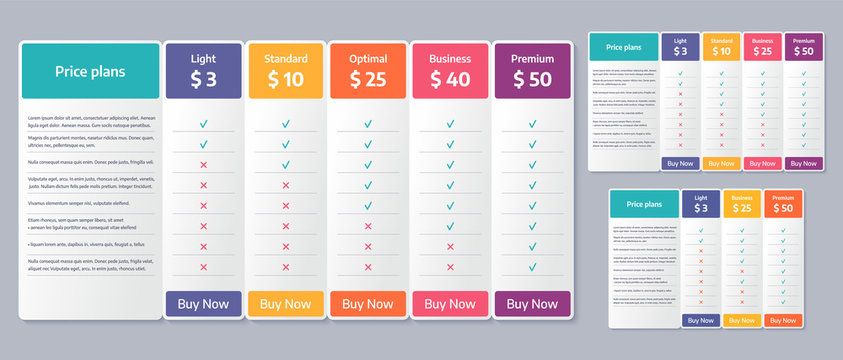 Price table template. Vector. Comparison plan chart. Set pricing data grid with 3, 4 and 5 columns. Checklist compare tariff banner. Color illustration. Flat simple design.