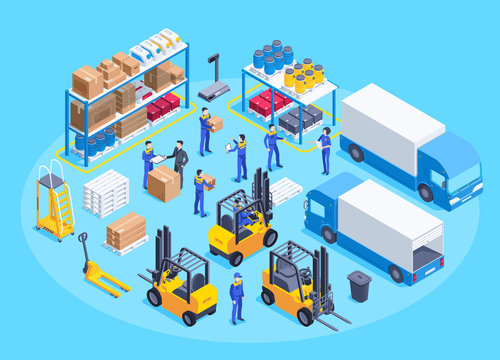 isometric vector image on a blue background, men in work overalls work in a warehouse, a shelf with boxes and canisters, equipment for transportation of goods, truck and loader