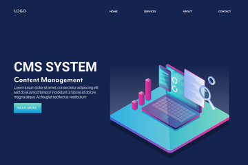 Content management system, cms business solution, internet content software technology, online media file manager, marketing  concept. 3d style isometric web banner, landing page template with text.
