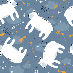 Door stickers Bestsellers Kids Bears, hand drawn backdrop. Colorful seamless pattern with animals, stars, constellations. Decorative wallpaper, good for printing. Overlapping colored background vector. Design illustration. Zzzz