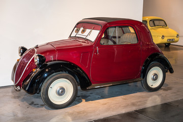 Malaga, Spain - December 7, 2016: Vintage Fiat 500 Topolino (model 1936) Italy car displayed at Malaga Automobile and Fashion Museum in Spain.