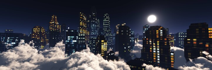 Wall Mural - High-rise city at night under the moon among the clouds, skyscrapers under the moon, skyscrapers in the clouds, 3D rendering