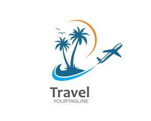 plane with palms icon logo of travel and travel agency vector