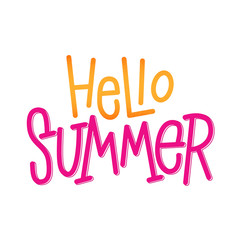 Hello Summer. Hand lettering sign for store. Vector typographic design element for banner, social media, card, print, poster.