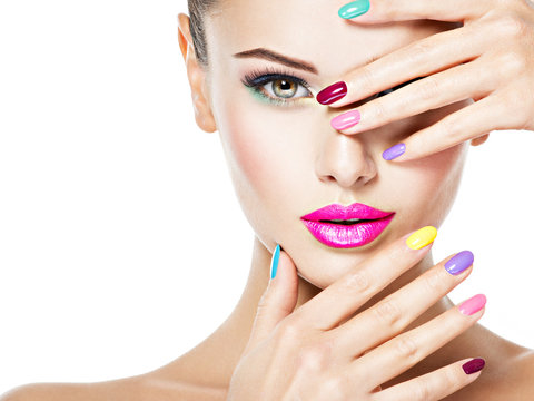 beautiful woman  with colored nails