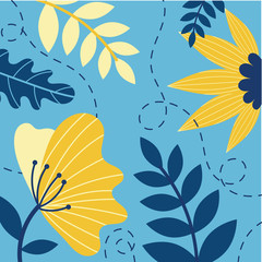 Wall Mural - flowers and leafs garden scene