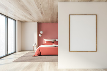 White and pink bedroom with vertical poster