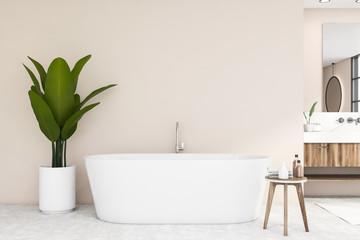 Bathtub and sink in beige bathroom