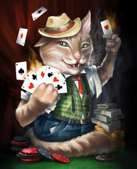 Cat card sharper plays cards in the casino. Digital illustration.