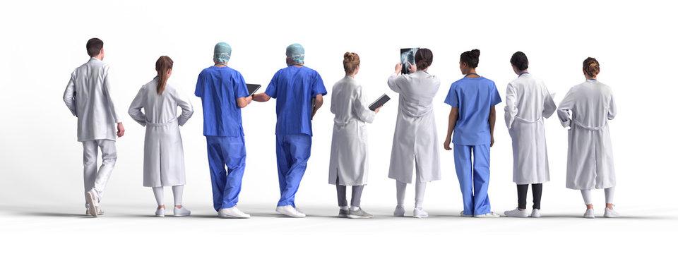 Covid 19 Coronavirus doctors. Isolated 3d rendering