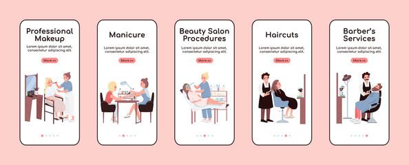 Beauty salon onboarding mobile app screen flat vector template. Professional make up. Walkthrough website steps with characters. UX, UI, GUI smartphone cartoon interface, case prints set