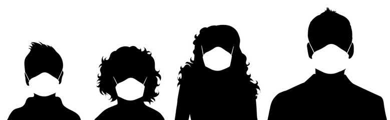 Set of vector silhouette of anonymous people with medical mask on white background. Symbol of healthy and sick. Danger of coronavirus.
