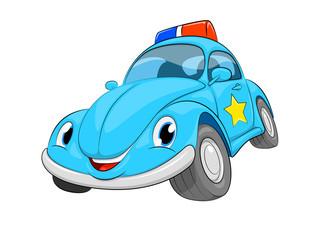 Garden Poster Cartoon cars Funny cartoon police car. A blue car on a white background.