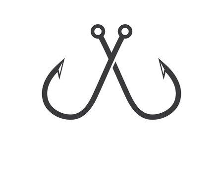 hook  logo icon of fishing vector illustration