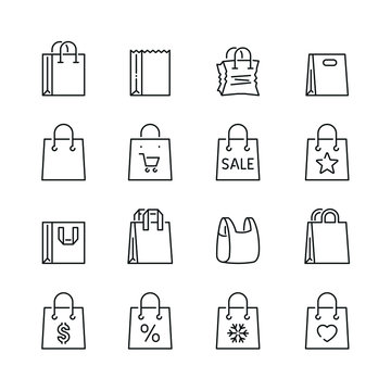 Shopping bag related icons: thin vector icon set, black and white kit