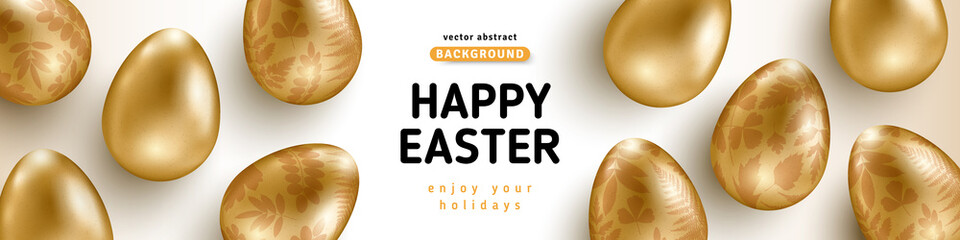 Easter horizontal banner with gold ornate eggs on white background. Vector illustration. Place for your text. Golden floral pattern. Greeting card trendy design or invitation template