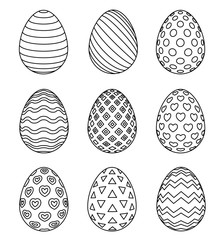 Easter eggs set with different patterns isolated on white background. Coloring page for children's book, antistress painting. Wave, hearts and stripes, dots and triangle ornaments.