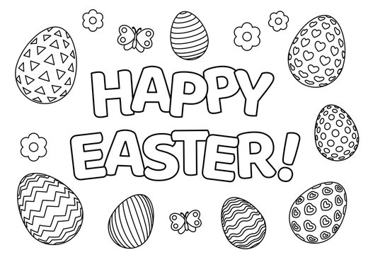 Happy Easter background with patterned eggs, flowers and butterfly for coloring book page. Vector illustration.