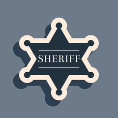 Black Hexagonal sheriff star icon isolated on grey background. Sheriff badge symbol. Long shadow style. Vector Illustration