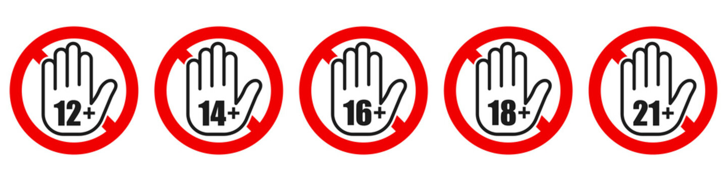 Set of age restriction signs. Age limit concept.