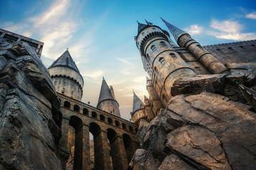 Hogwarts castle at Universal Studio Japan  with blue sky