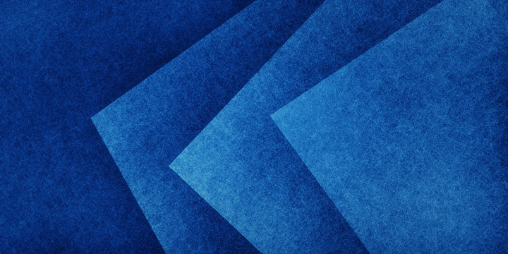 Blue abstract background with texture, geometric triangles and square shapes in layered abstract pattern, modern textured design