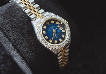 NAKHON RATCHASIMA, THAILAND - JULY 31, 2018 : Rolex oyster perpetual Date just with diamond watch