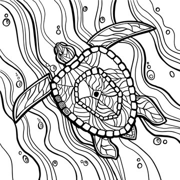 Sea turtle coloring book  vector illustration. Anti-stress coloring . Zentangle style.
