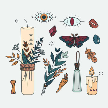 Set of pagan, occult and esoteric symbols. Isolated collection about shamanism, herbal medicine healer, Wicca. Linear mystical items - candles, herbs, moth, evil eyes in hand drawn style