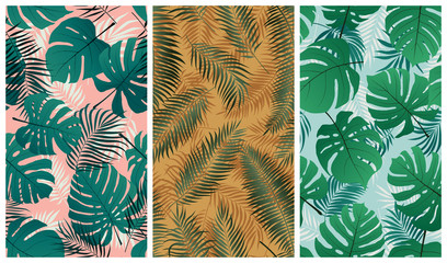 Seamless tropical pattern with monstera leaves and palm tree branches, set of vector summer backgrounds