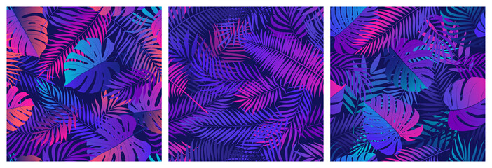 Wall Mural - Set of seamless patterns with tropical exotic leaves and plants, vector set in ultraviolet shades, with neon reflections of pink and blue colors