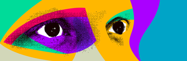 Looking eyes 8 bit dotted design style vector abstraction, human face stylized design element, with colorful splats. Fotomurales