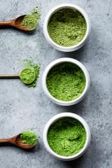 Matcha tea powder in a ceramic bowl