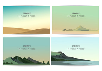 Poster Bleu clair Landscapes vector set, flat style. Natural wallpapers are a minimalist, polygonal concept.