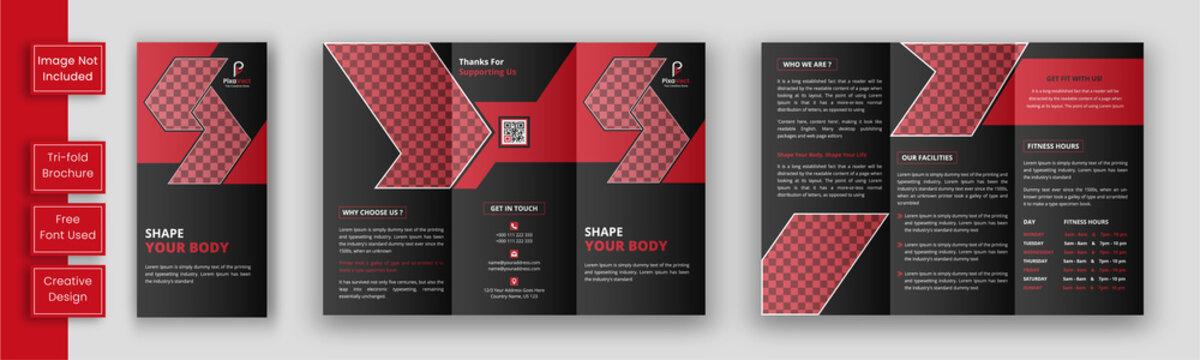 Gym trifold brochure template, Fitness tri-fold brochure template, Sports brochure