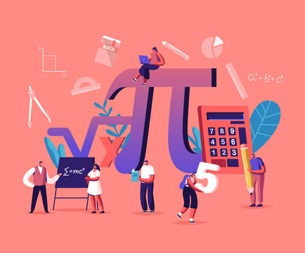 Math Science Concept. Tiny Male and Female Students Characters in Lab or School Class Learning Mathematics at Huge Sign Pi. People Gaining Education and Writing Formulas. Cartoon Vector Illustration
