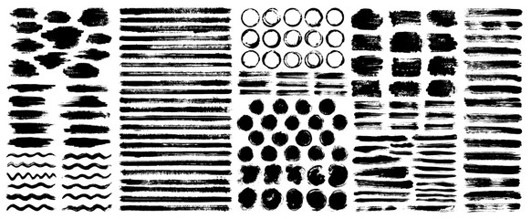 Dry paint stains brush stroke backgrounds set. Dirty artistic vector design elements, boxes, frames for text, labels, logo. Hipster stickers, paintbrush grunge stamp label backgrounds, circle frames.