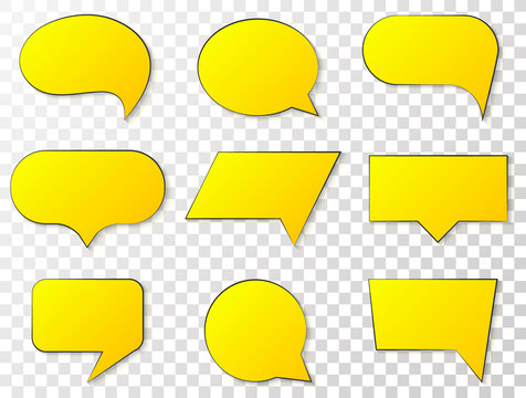 Speech bubbles, yellow quote box frame labels set. Blank texting quote boxes templates info design, quotation speech bubbles blog symbols. Vector tag, badge, sticker templates. Chat message icons.