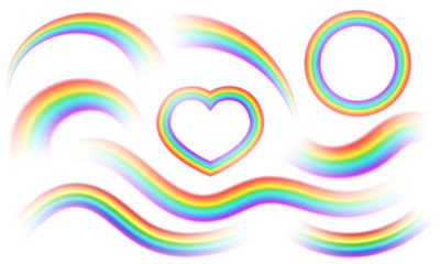 Colorful rainbows isolated big vector set. Perspective diagonal view. Bright realistic arch rainbows, heart and round halo rainbow. Fantasy symbol of good luck. Fotomurales