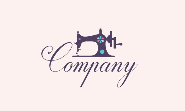 Sewing Machine Logo for Sewing Shop Tailor Fashion Fabric Design Template