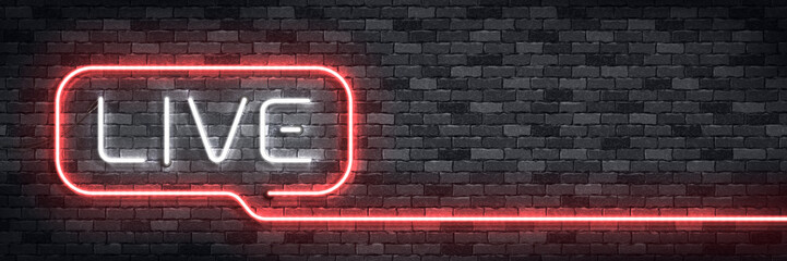 Vector realistic isolated neon sign of Live flyer logo for decoration on the wall background. Concept of podcast and radio.