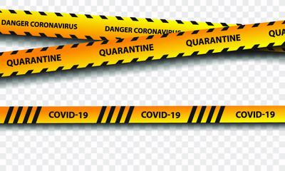 Quarantine sign of biological hazard. Warning of yellow and black stripes quarantine coronavirus. Isolated on a transparent background.