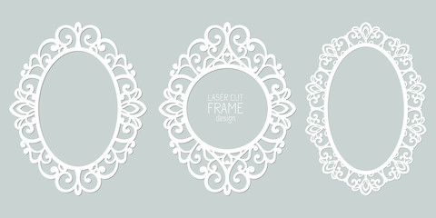 Set of abstract oval frames with swirls, vector ornament, vintage frame. May be used for laser cutting. Photo frames with lace for paper cutting.